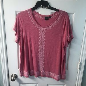 Rafaella embroidered pink top